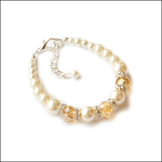 Ivory Ecru Multi Sized Glass Pearls Beads and Champagne Crystals Child Flower Girl Wedding Baby Newborn Gift Bracelet Growth Chain by la jolie fille boutique, $6.50