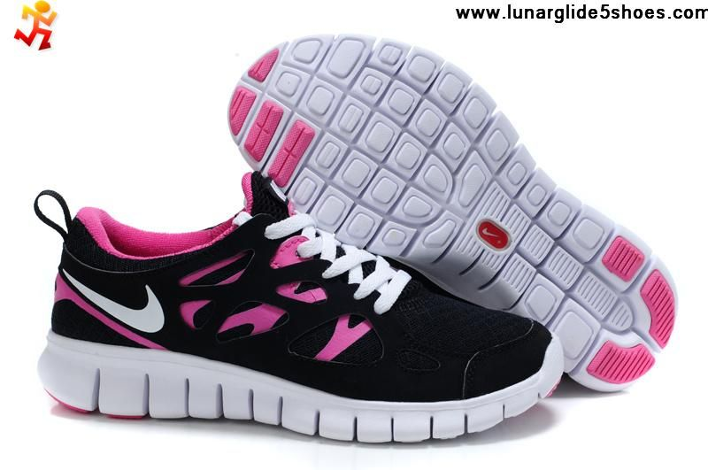 cheap discount womens nike free run 2 black pink flash white shoes running shoes store