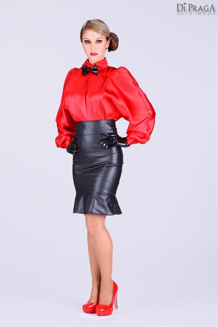 5e984cc225 Red Satin Blouse Black Leather Pencil Skirt Sheer Pantyhose and Red  stiletto high Heels