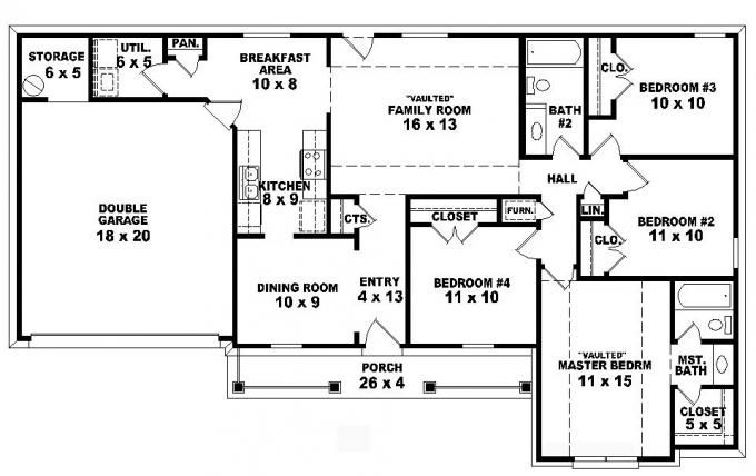 #653785   One Story 4 Bedroom, 2 Bath Traditional Ranch Style House Plan