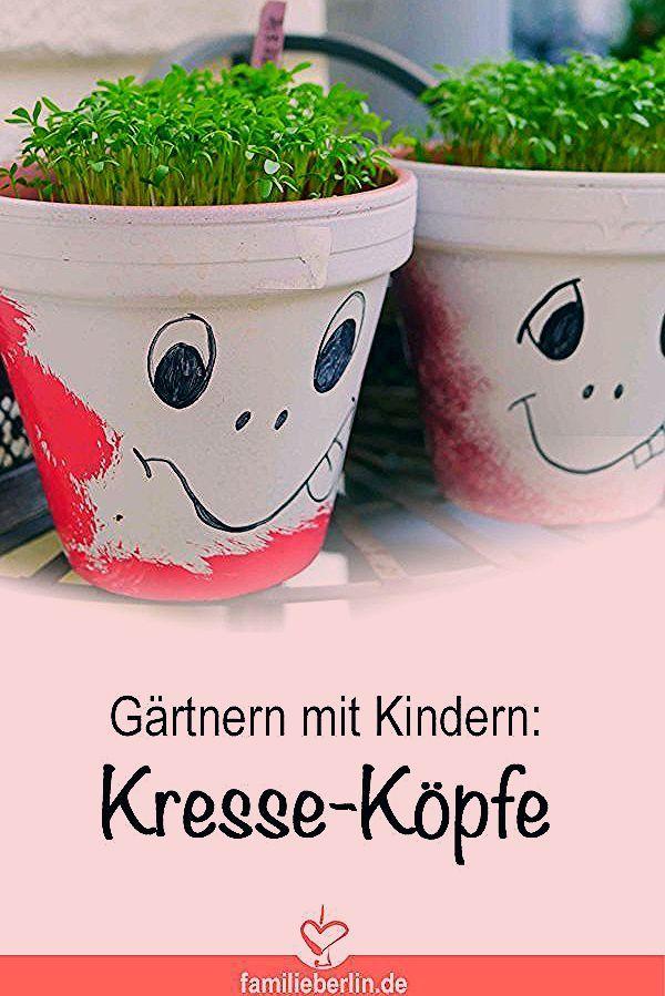 Gärtnern mit Kindern: Blumentopf-Gesichter mit Kresse   https://familieberlin.de