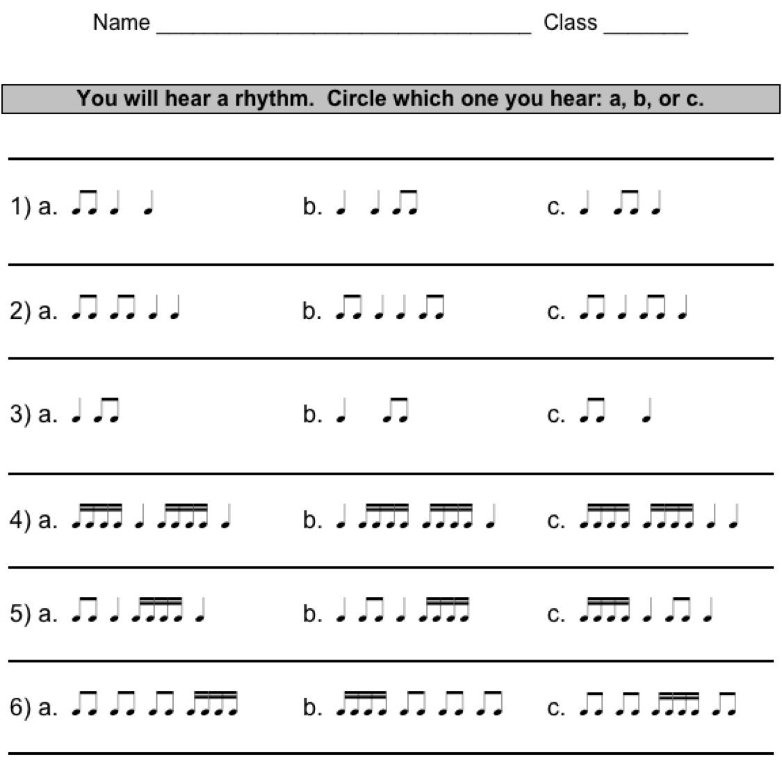 Rhythm Worksheets