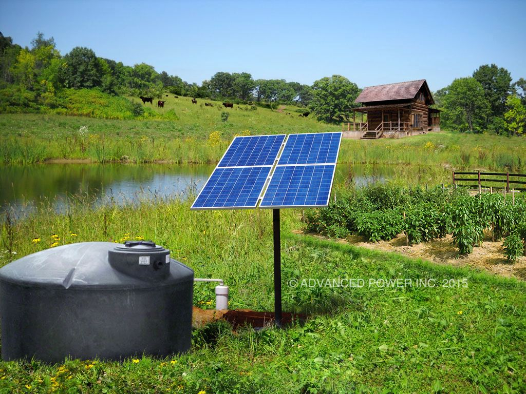 Rural Solar Powered Pumping System With Enclosed Storage Tank For Homes Livestock Irrigation And Maintaining A Pond More Solar Solar Water Pump Solar Water