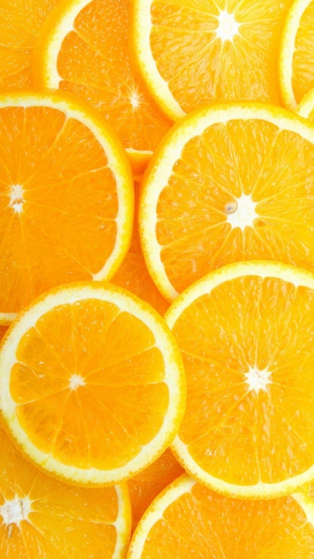 Fruit Orange Slice Overlap Background iPhone 8 Wallpapers
