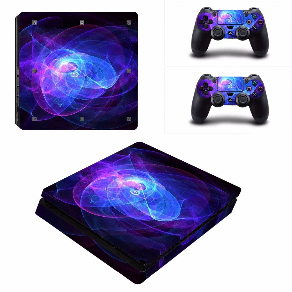 Abstract Light Vinyl Decal Skin For playstation 4 Console +2Pcs Stickers For ps4 Controllers