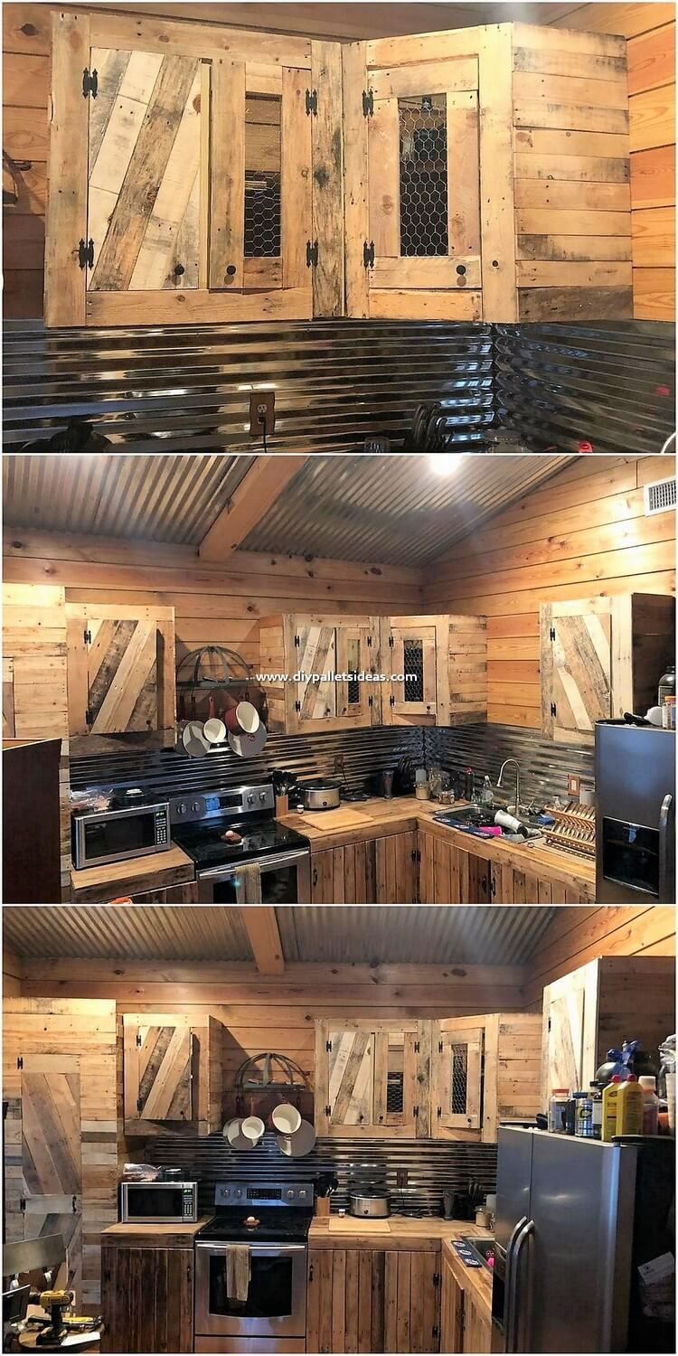 This Is Quite An Inspiring Way To Add Your Kitchen With The Attractive Impact With The Wood Pallet Kitchen C Pallet Kitchen Cabinets Pallet Kitchen Diy Kitchen