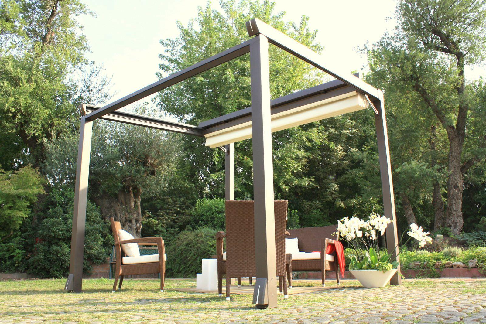 free standing aluminum pergola sliding pvc canvas cover. Black Bedroom Furniture Sets. Home Design Ideas