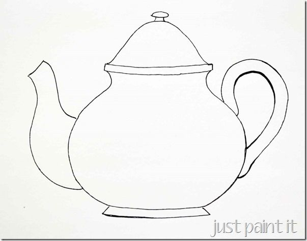 teapot printable coloring pages - sketching a simple teacup teapot template and embroidery