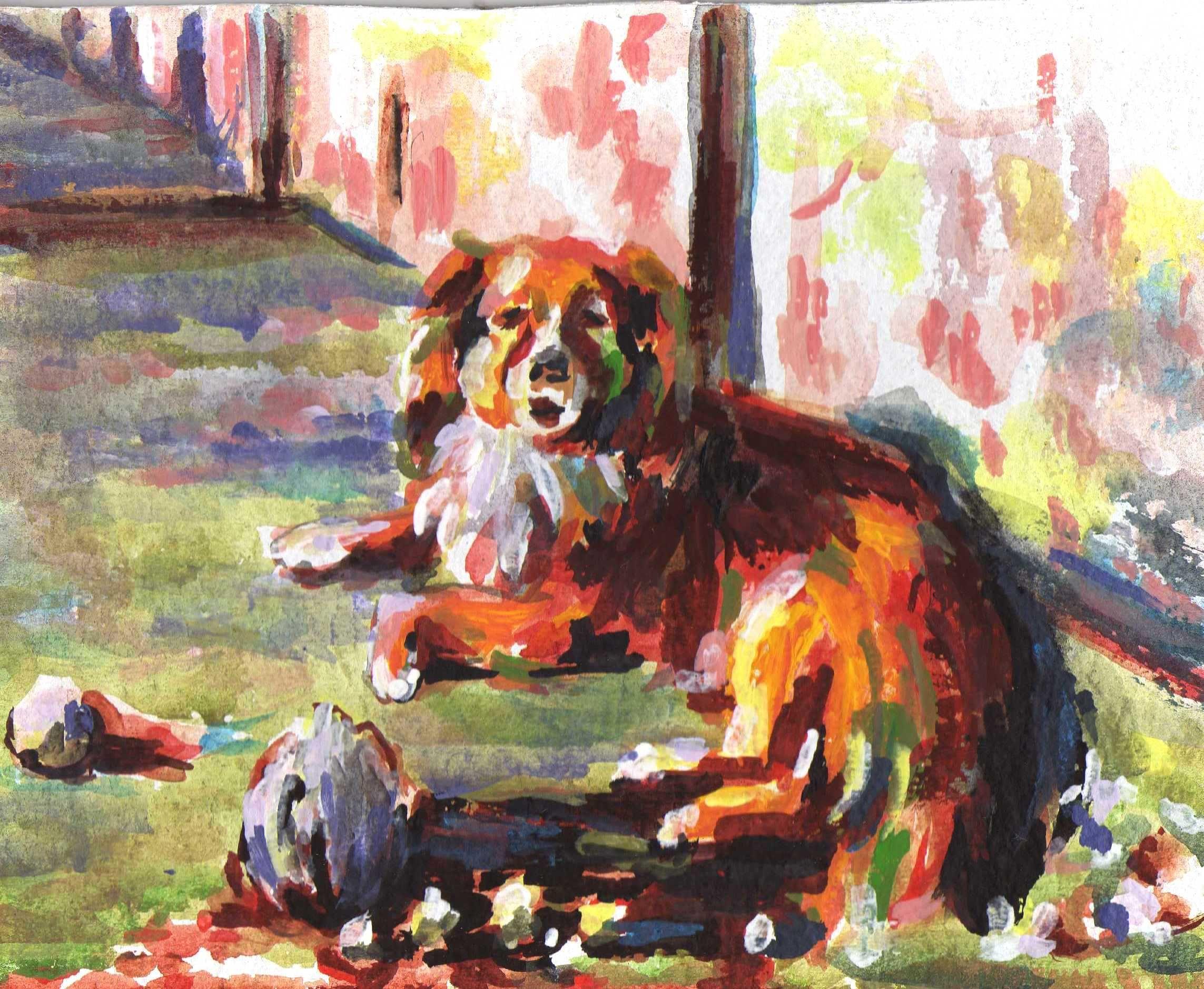 a szomszéd kutyája  karton, akril