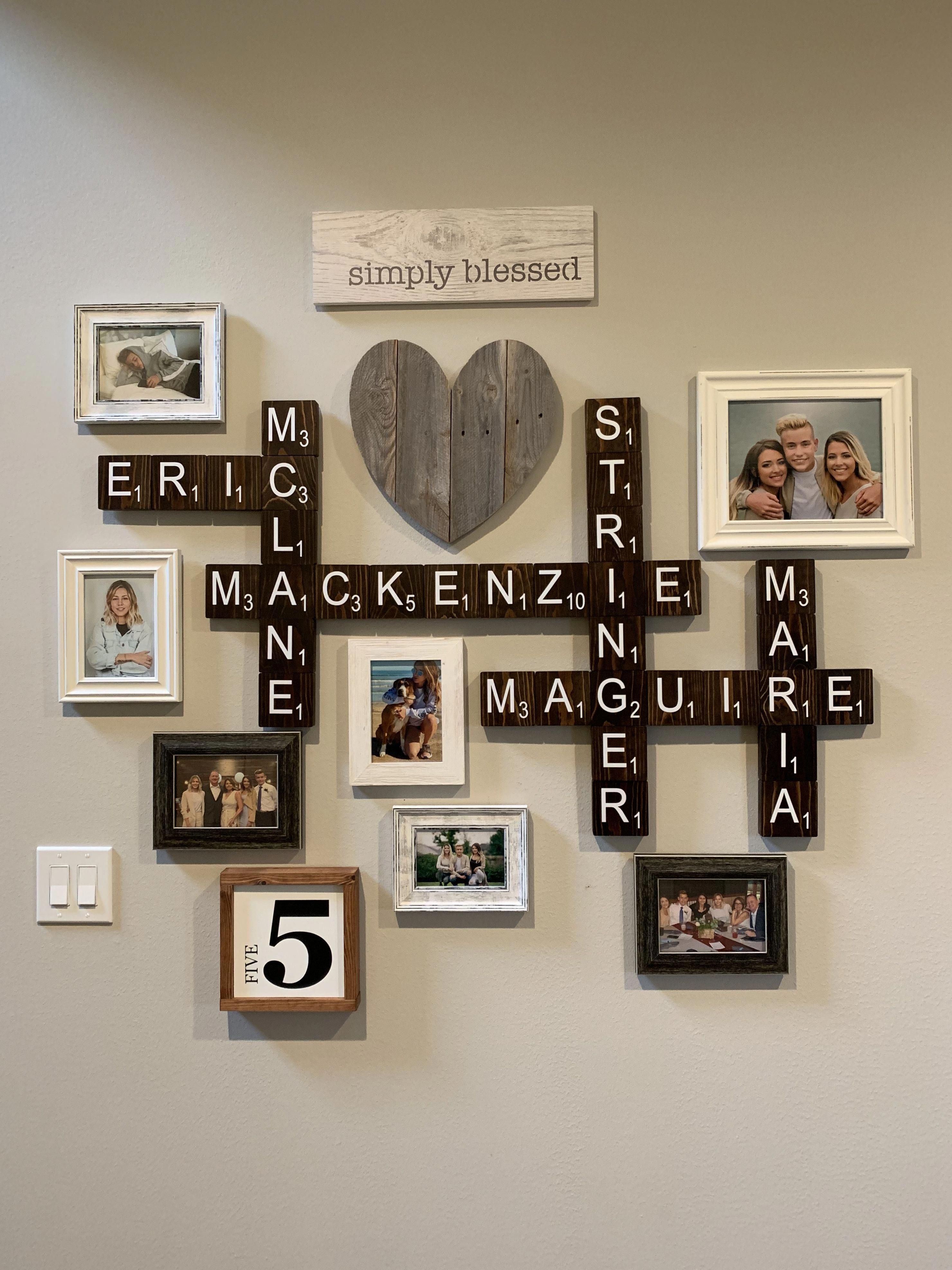 Family Wall Scrabble Letters And Family Photos In 2020 Family Wall Decor Family Pictures On Wall Scrabble Wall Decor