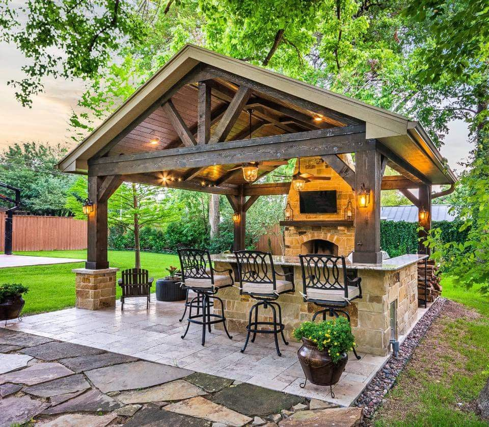Outdoor Kitchen With Thatched Gazebo Outdoor In 2019: Outdoor Patio Designs, Backyard