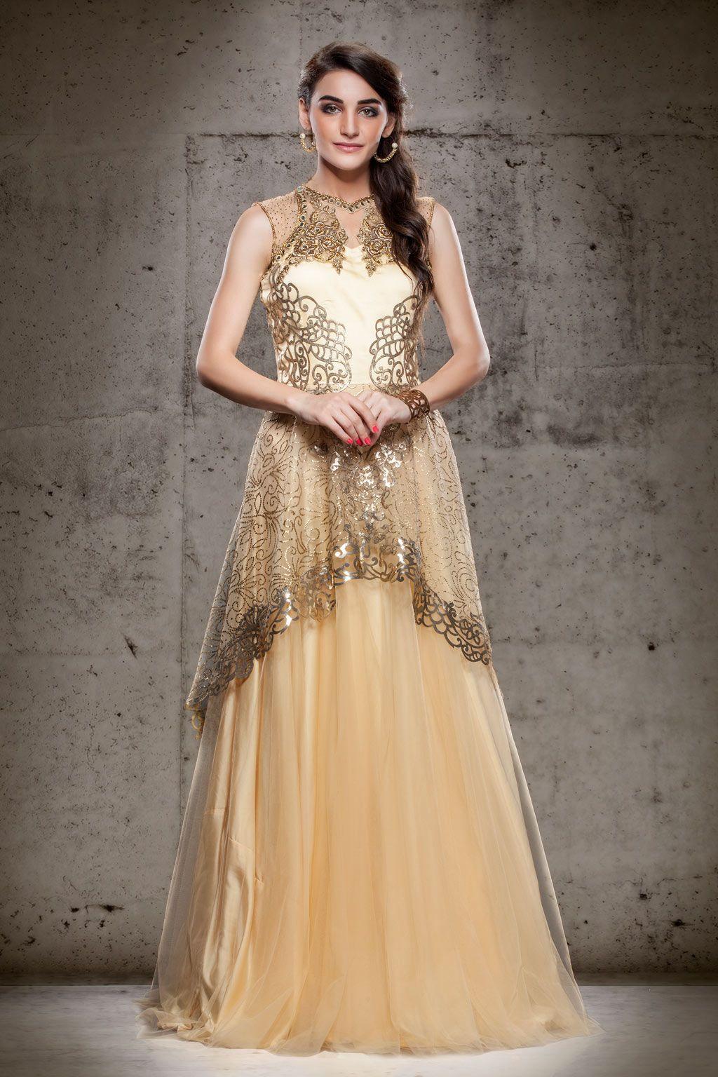 Beige Net Designer Readymade Gown 63155 Indian wedding
