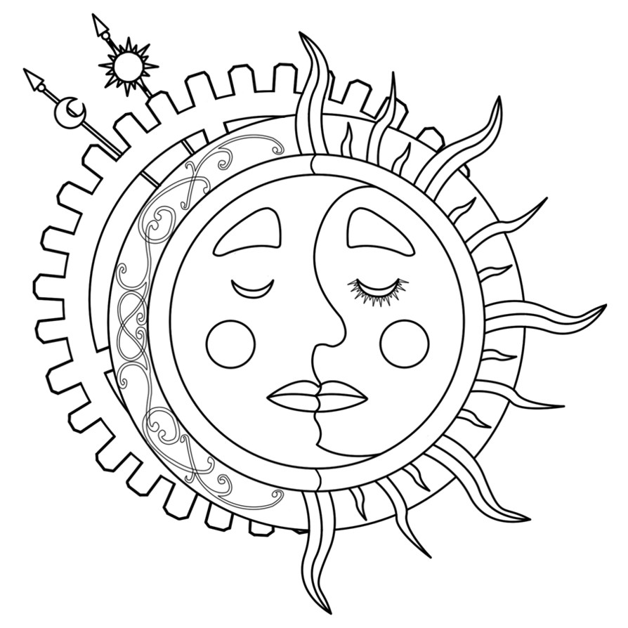 Moon Sun Steampunk Tattoo Lineart by dimensionten on