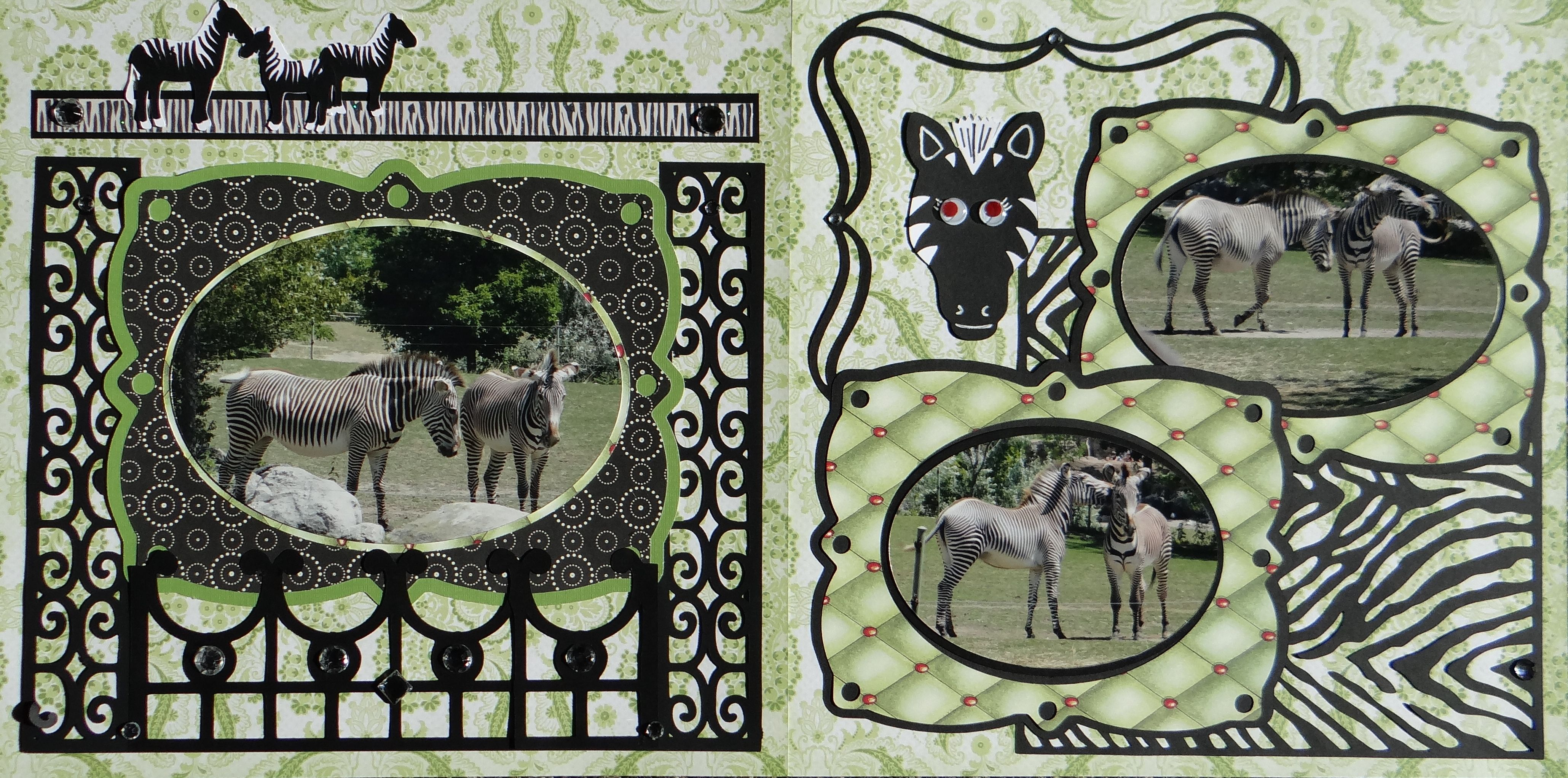 Zoo animal scrapbook ideas - Scrapbook Page Fighting Zebras At The Zoo 2 Page Animal Layout From Everyday Life