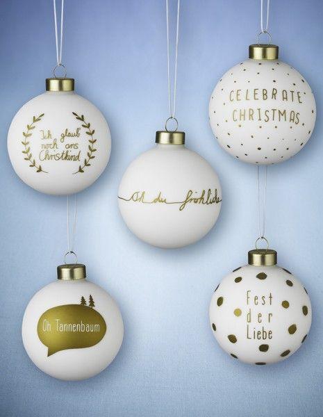 lecker weihnachtskugeln wei gold 5er set navidad pinterest christmas time xmas and. Black Bedroom Furniture Sets. Home Design Ideas
