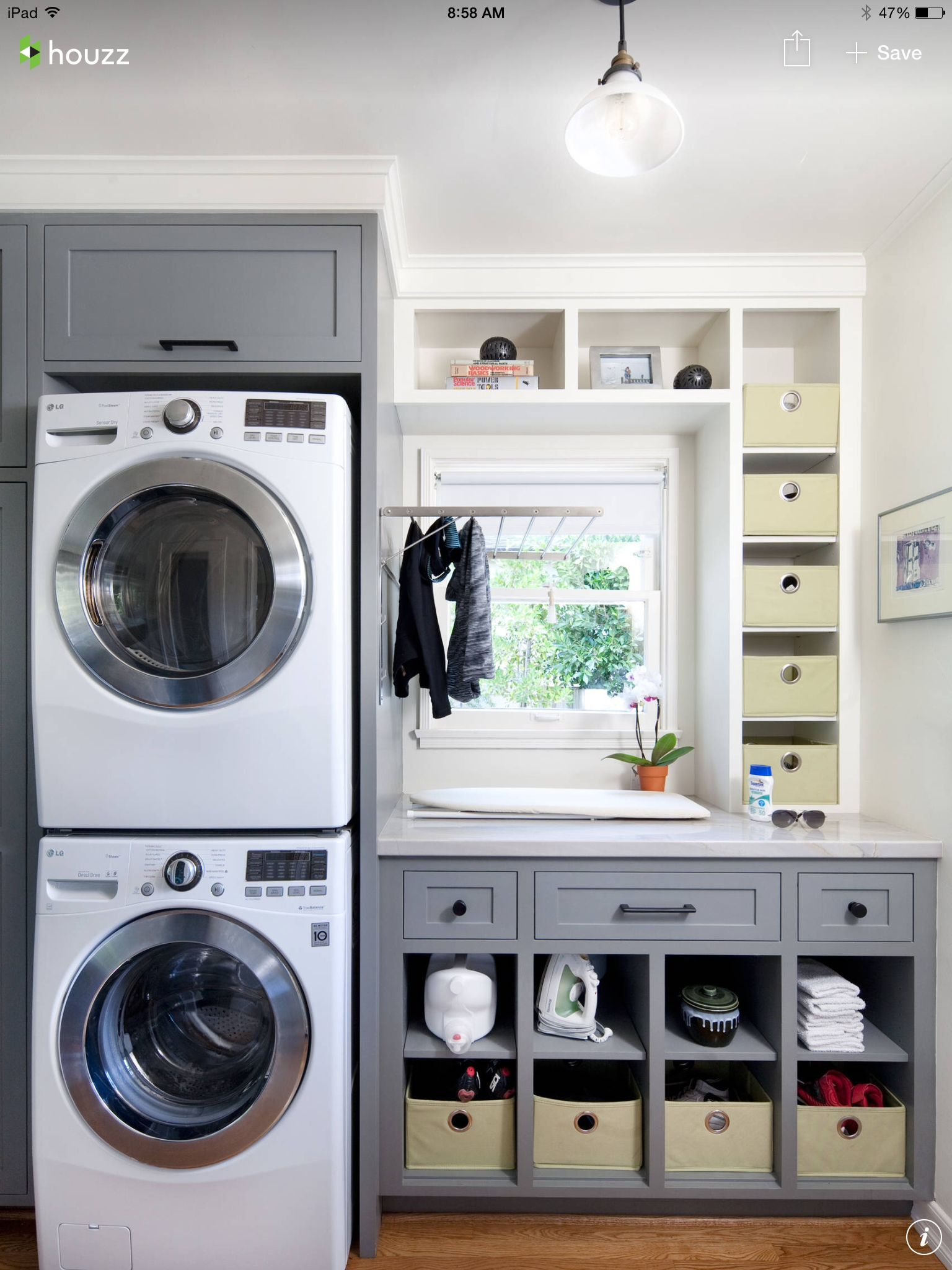 Laundry Room Love The Pull Down Drying Rack And Ironing Board Grey Laundry Rooms Laundry Room Inspiration Laundry Room Design