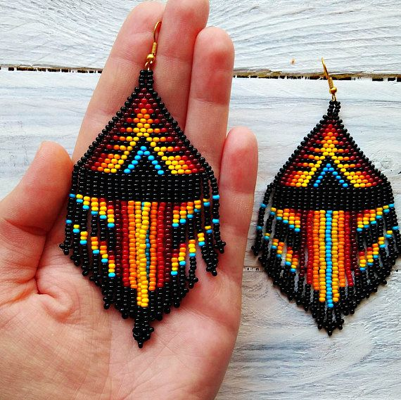 Native American style long beaded earrings boho orange fringe earrings perfect gift for mom