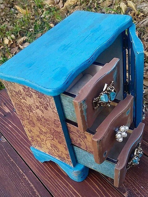 Jewelry Armoire Upcycled Teal and Brown Jewelry Box Necklace