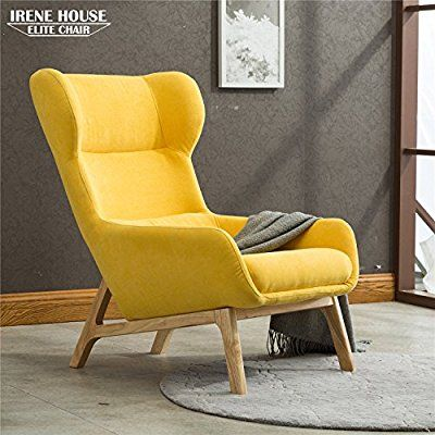 Irene House Contemporary Velvet Fabric Height Back Accent Chair Living Room Bedroom Arm Yellow Kitchen Dining