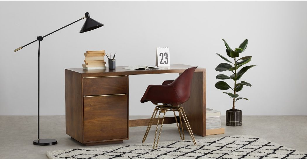 Anderson bureau bois de manguier et laiton meubles desk