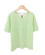 Round Neckline T-shirt with Triangle Design Print Details