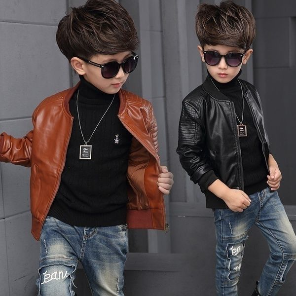 cde6d9a64 Wish | Children Fashion Boys Spring Autumn Coats Faux Leather Jacket Winter Outerwear  Brown Black