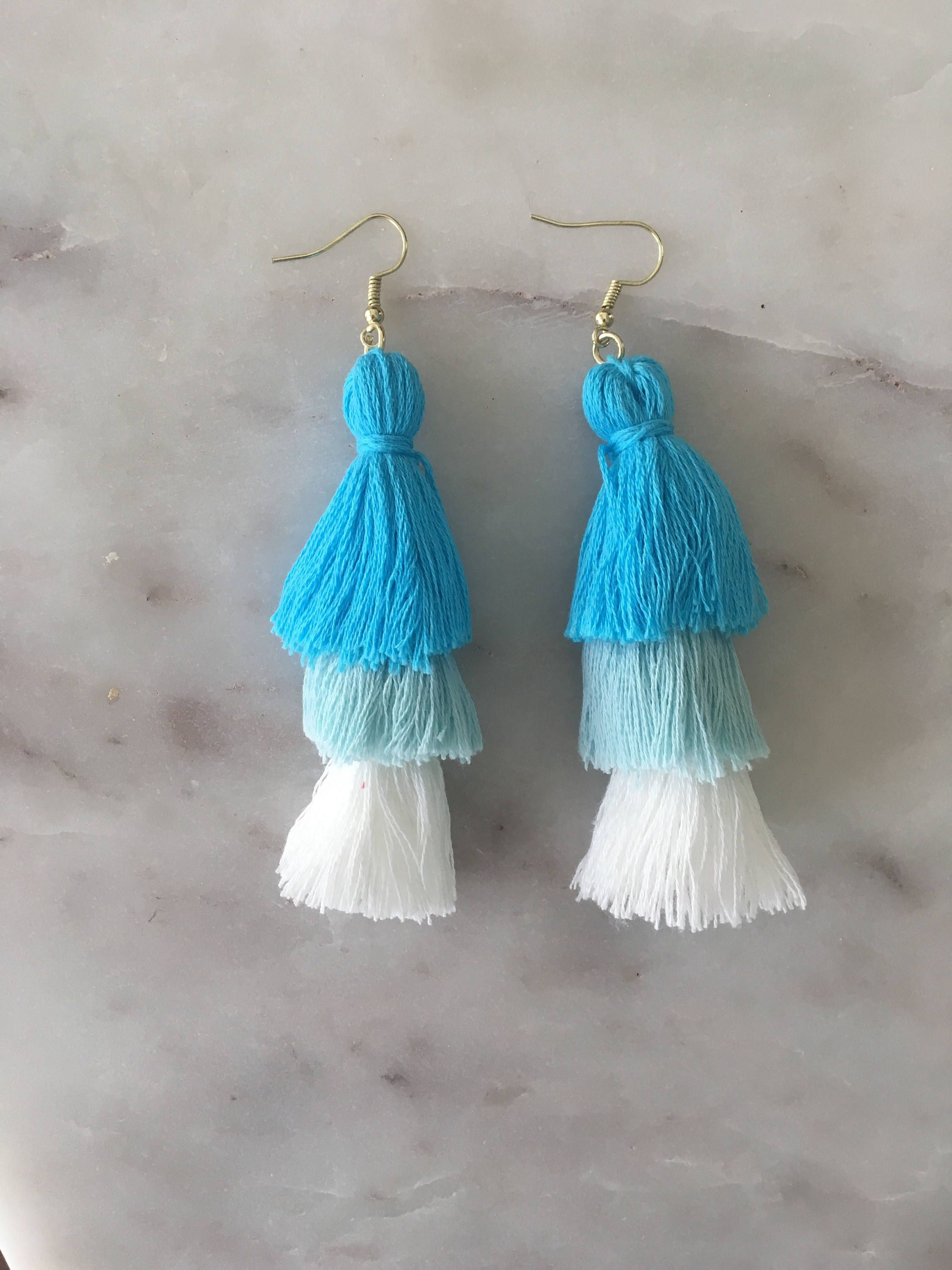 8c2ab69c6601b0 Ombre blue white layered tassel earrings three tier tassel earrings  http://etsy.