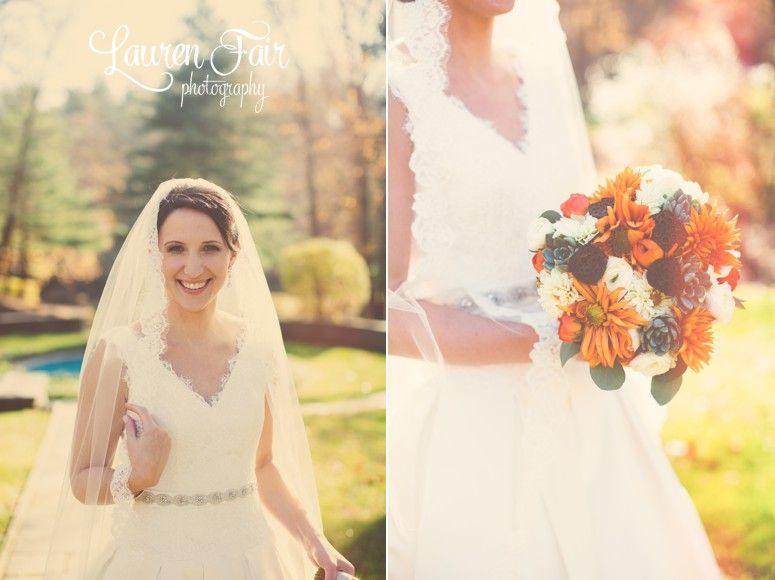 Lace Veil, V-Neck Wedding Dress, Fall Wedding, Orange Flowers, Grey Suit, Succulents.  Erica & Tom \ Colorful Villanova Wedding #laurenfairphotography