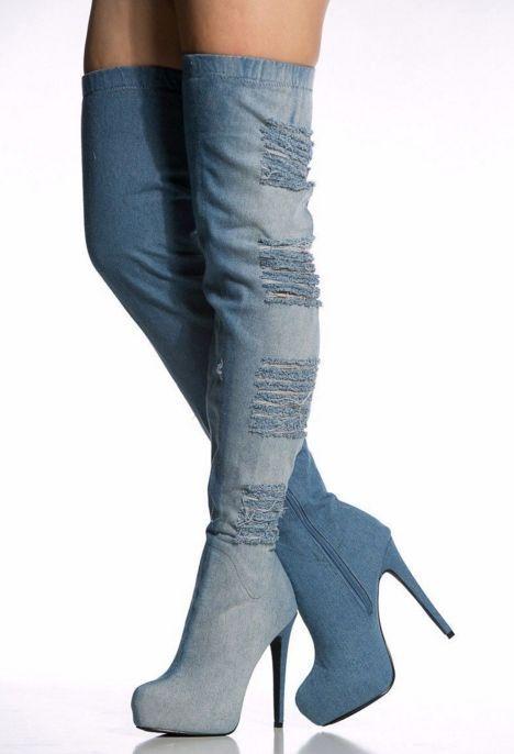 163fa0d34b8b Fashion Womens Platform Round Toe High Heel Over The Knee Boots Blue Denim  Shoes