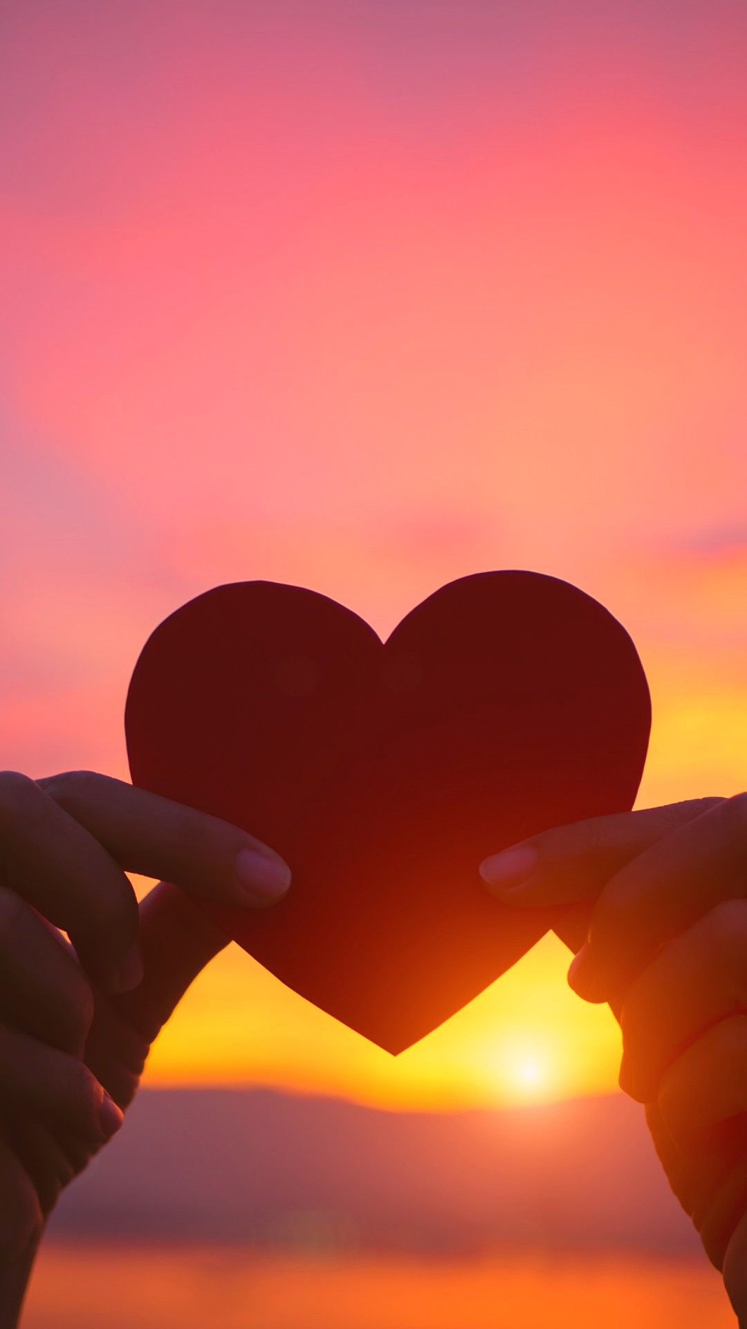 Heart At Sunset Love Wallpapers 1080x1920 Love Wallpaper Sunset Love Wallpaper