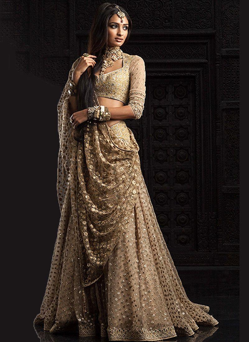 Lehenga saree for wedding bride faberge coccoon  classic look full gold embroidered lehenga