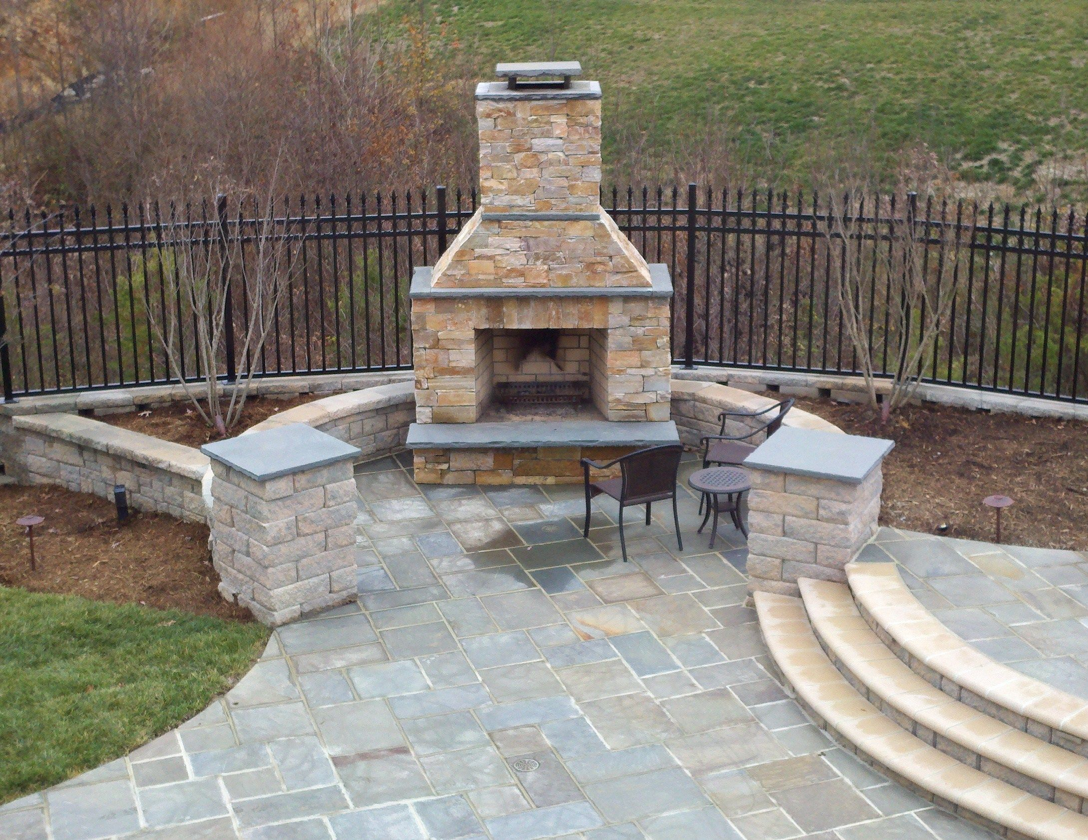 Beautiful Pool with Bluestone Patios and Stone Fireplace Project