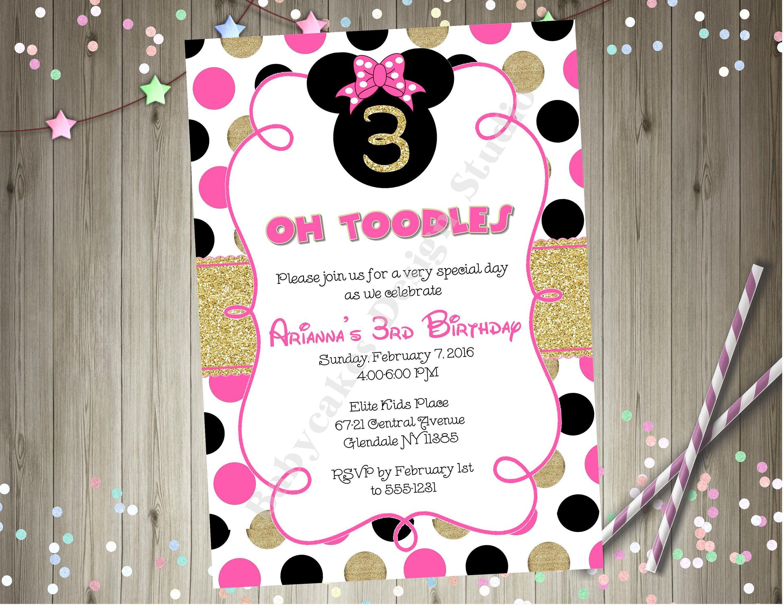 Minnie Mouse Birthday Party Invitation Invite Minnie birthday ...