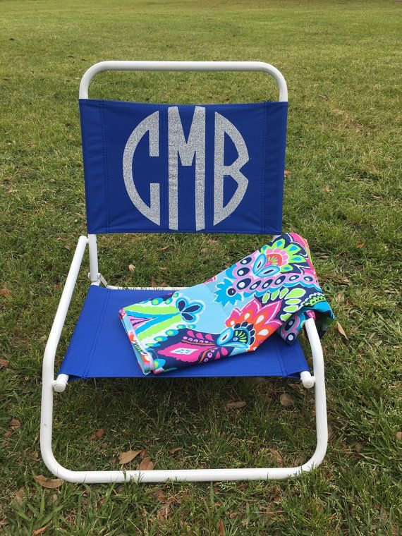 Beach Chair Monogrammed Personalized Folding By Thepurplepetunia