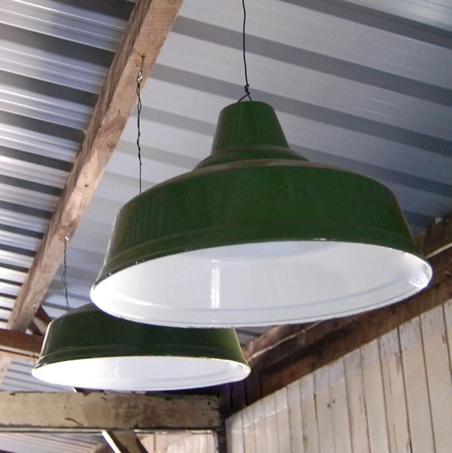 Vintage Green Enamel Factory Light Shades For