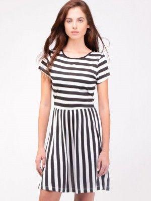 KOOVS Stripe Button-Detail Skater Dress  Skater Dress cute #casualoutfit #ramirez701 #SkaterDress #Skater #Dress #topdress www.2dayslook.com