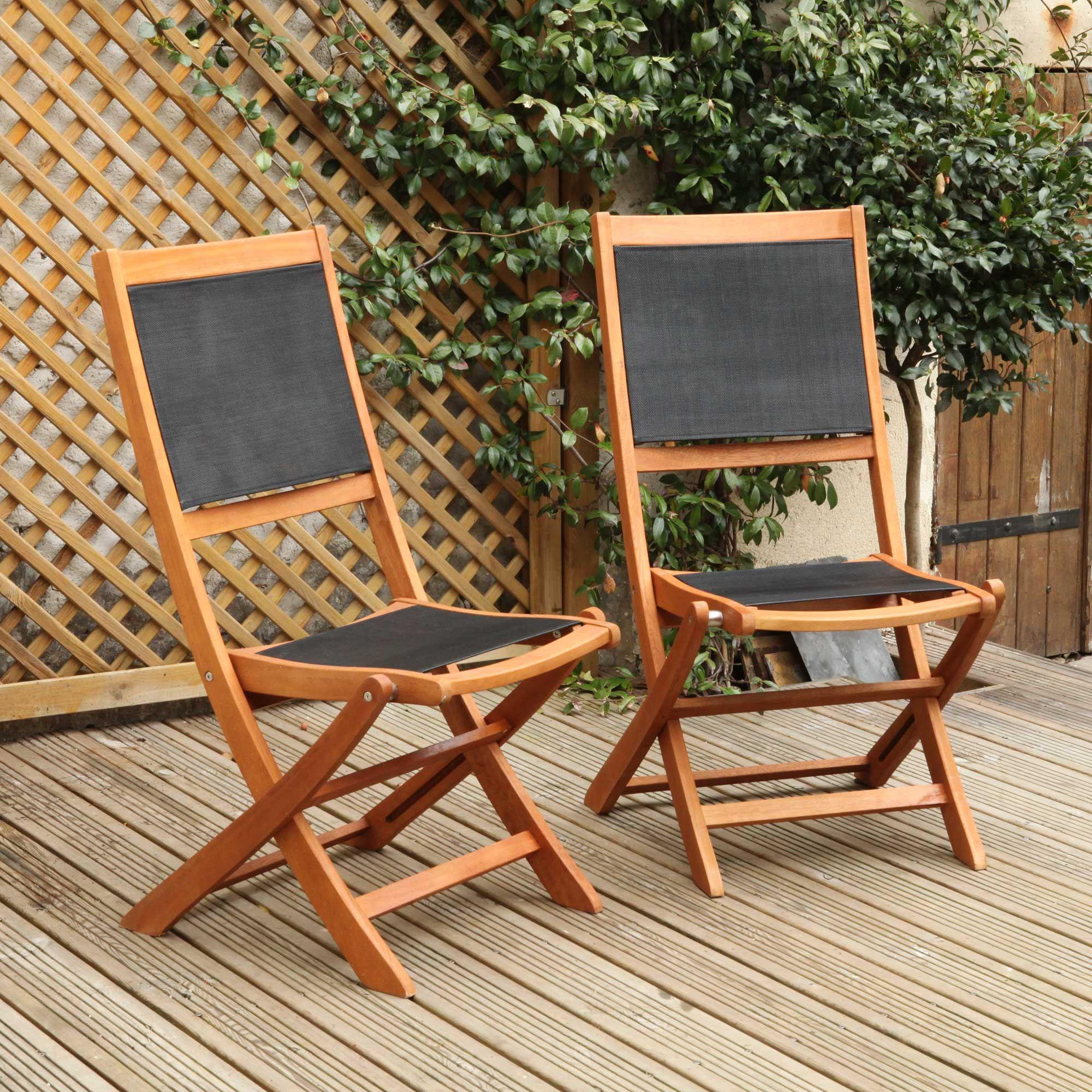 Chaises de jardin pliantes Eucalyptus EVAS FSC / Textilène Taupe ...