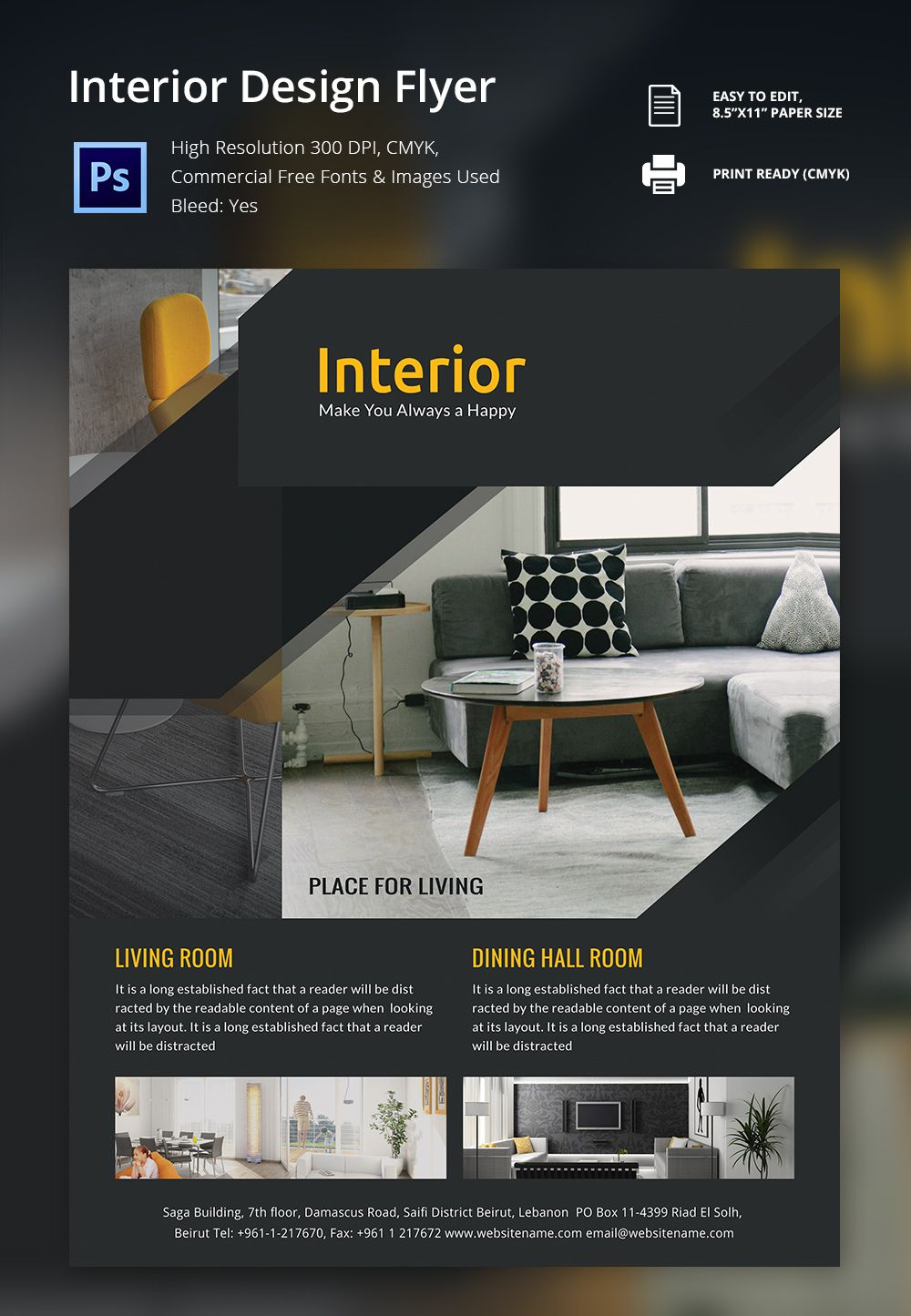 Interior Design Flyer Template 25 Free Psd Ai Vector Eps  Business Pamphlet Templates Free
