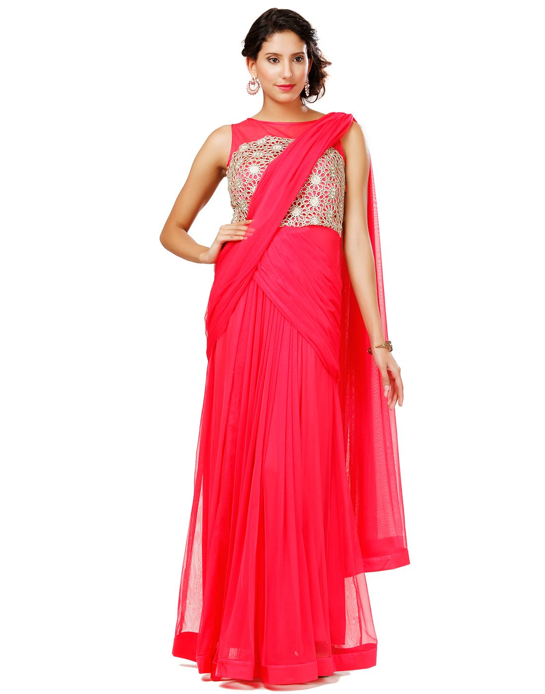 Buy Eavan Rose Colour Draped Saree Gown at Best price online in ...
