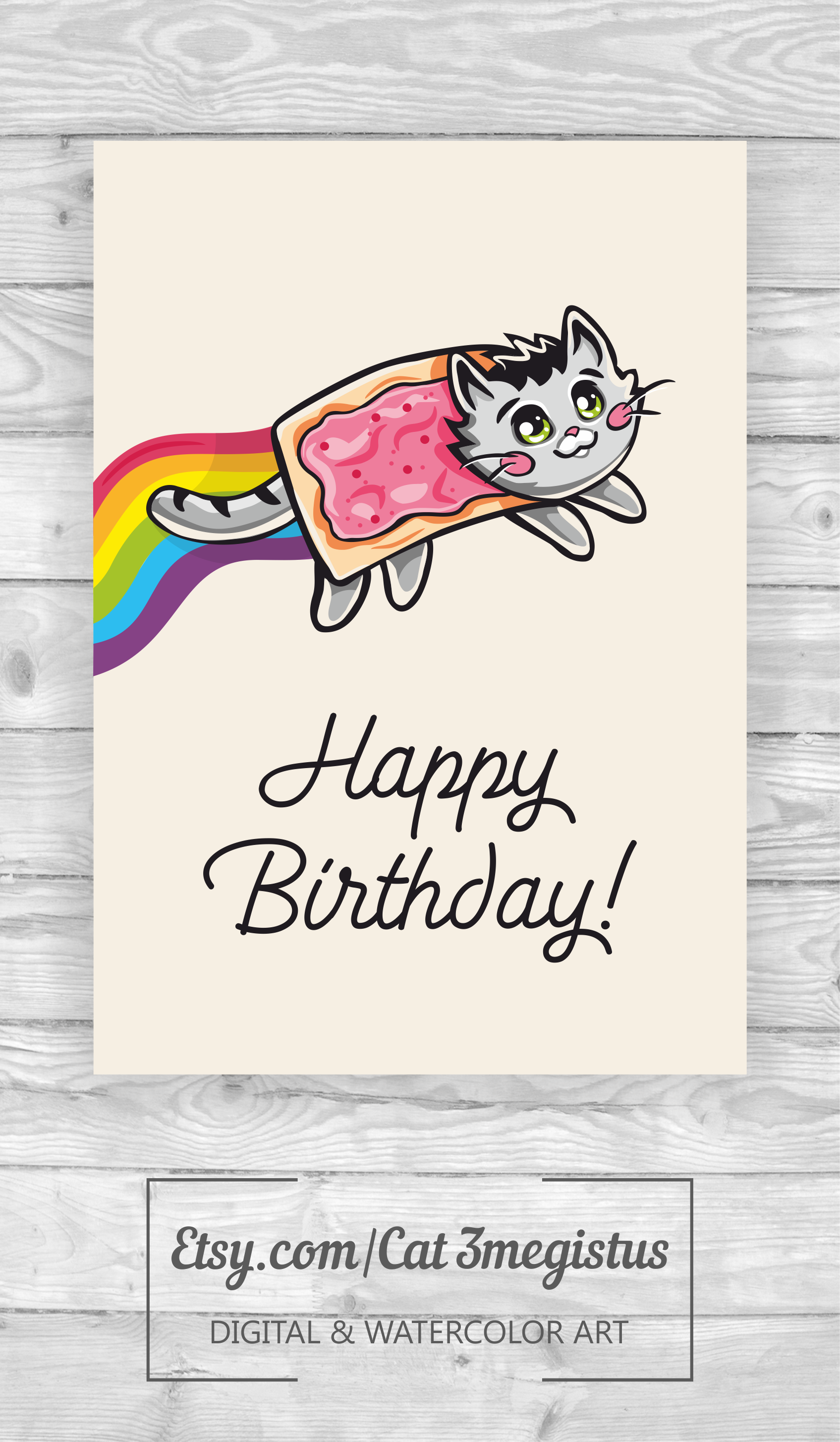 Nyan Cat Meme Fun Greeting Card Nynacat Nursery