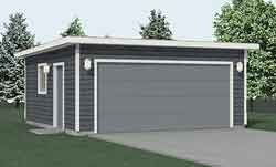 Compact 2 car garage with flat roof 2 story garage for Flat roof garage plans