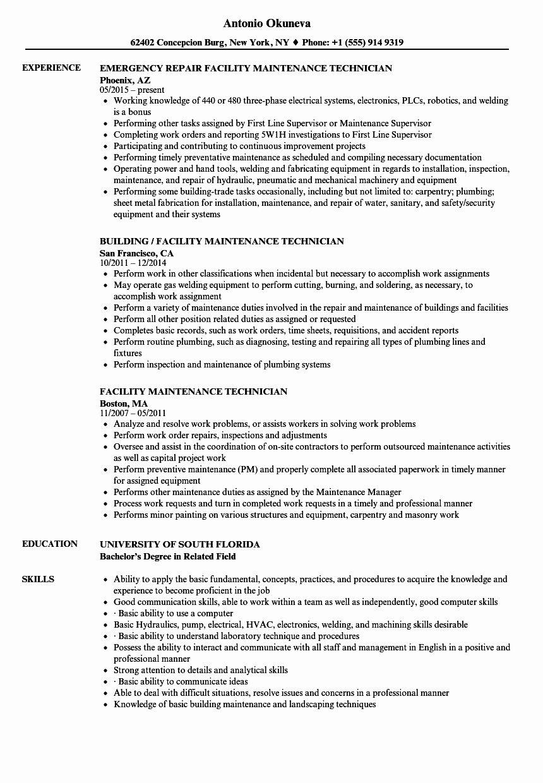 Maintenance Job Description Resume Inspirational Facility Maintenance Technician Resume Samples Maintenance Jobs Job Description Teacher Assistant Jobs