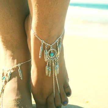 176ece7527fbb Barefoot Sandals Footless Sandals Anklet Toe Ring Foot Jewelry Boho ...