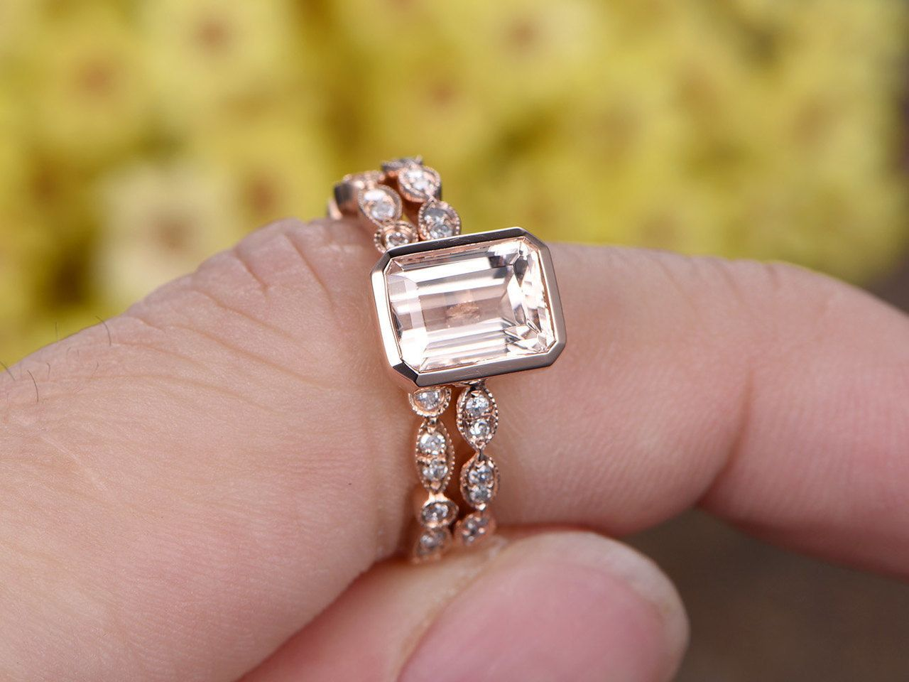 6x8mm Emerald Cut Pink Morganite engagement ring set,Marquise ...