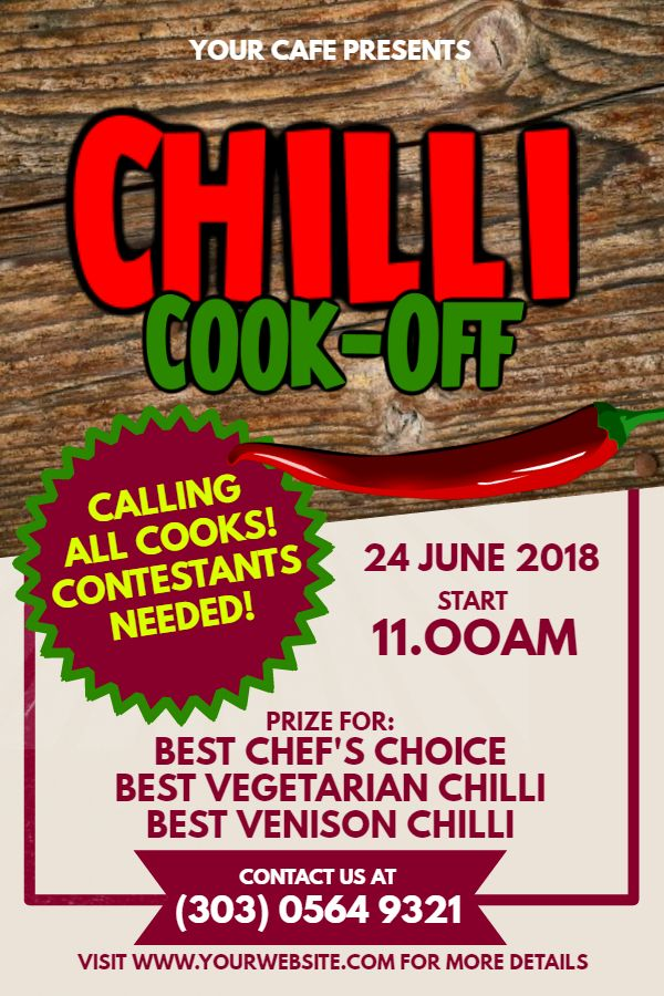 Printable Chili Cook Off Poster Flyer Design Click To Customize Chili Cook Off Cook Off Flyer Template Free