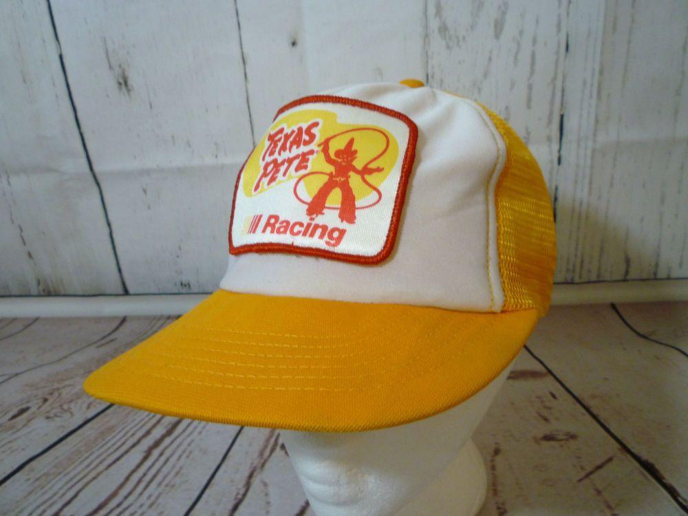 b24a408d45ecbb Vintage Mesh Snapback Yellow Trucker Hat Cap Texas Pete Hot Sauce Racing  EUC USA…