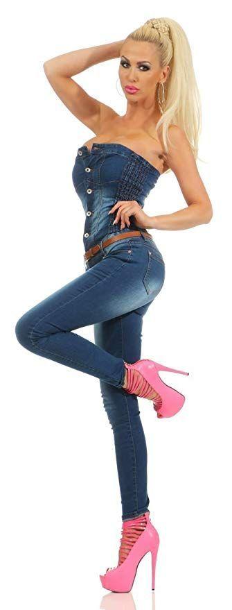 46f14f9050 Fashion4Young 5435 Damen Bandeau Jumpsuit Jeans Overall Hosenanzug  Damenjeans Schulterfrei dunkelblau