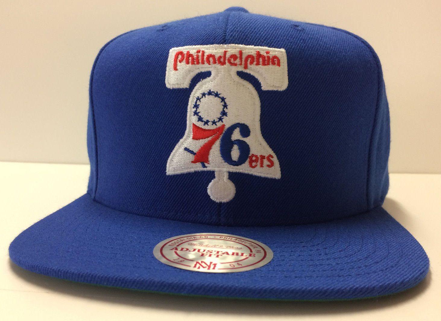 bff8f54e77e Philadelphia 76ers Mitchell   Ness NBA Snapback Hat Liberty Bell Sixers  Blue Cap