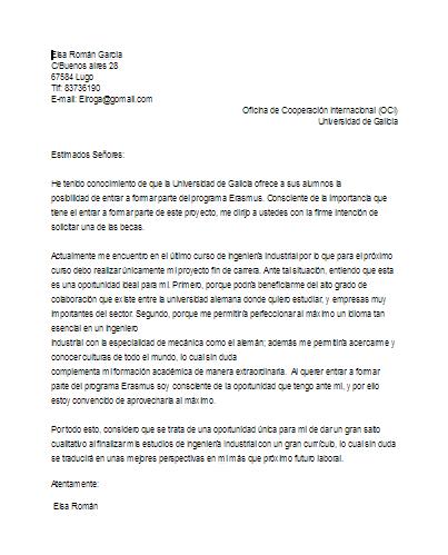 Ejemplo carta de motivación para beca erasmus | Erasmus +