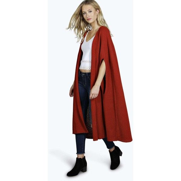 Boohoo Ruth Maxi Cape Cardigan (€32) ❤ liked on Polyvore featuring tops, cardigans, rust, red top, cardigan crop top, red cropped cardigan, layered crop top and cardigan top